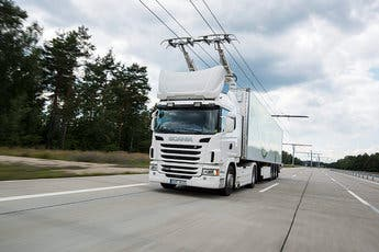 Scania G 360 4x2 with pantograph, electrically powered truck at the Siemens eHighway. 