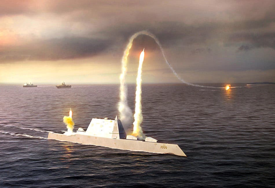 080723-N-0000X-001An artist rendering of the Zumwalt class destroyer DDG 1000, a new class of multi-mission U.S. Navy surface combatant ship designed to operate as part of a joint maritime fleet, assisting Marine strike forces ashore as well as performing littoral, air and sub-surface warfare. (U.S. Navy photo illustration/Released)