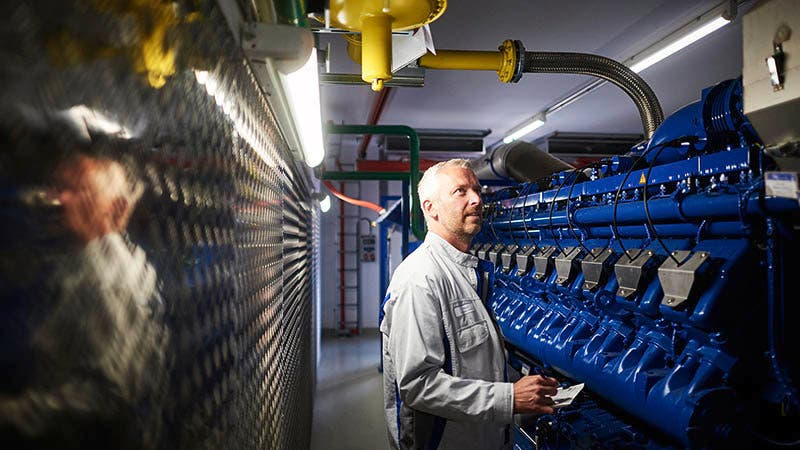 Daniel Weiß, technical specialist, in the in-house combined heat and power plant.