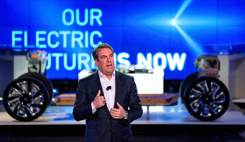 General Motors President Mark Reuss addresses the gathering Wednesday, March 4, 2020 at an event detailing GM's electric vehicle technologies and upcoming products in the Design Dome on the GM Tech Center campus in Warren, Michigan. (Photo by Steve Fecht for General Motors)