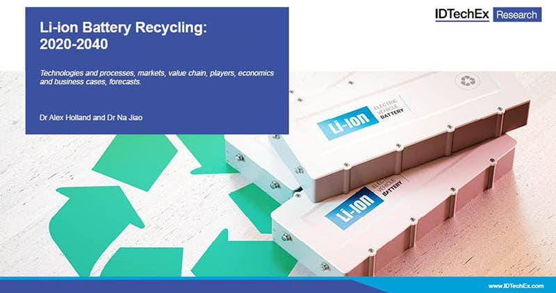 Informe de IdTechEx Li-ion Battery Recycling 2020-2040