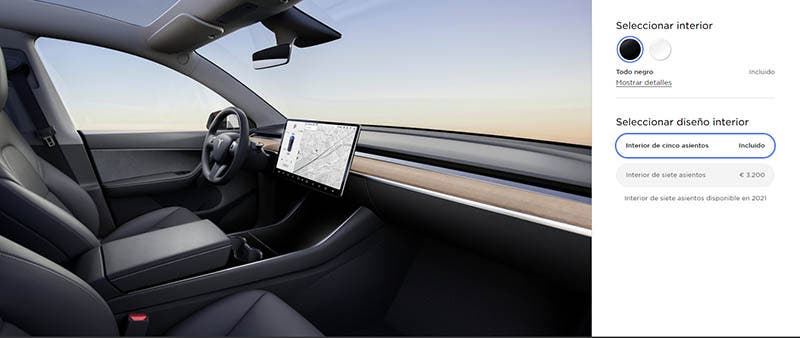 Configurador interior Tesla Model Y